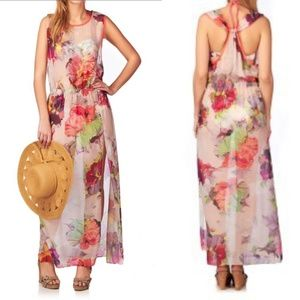 Ted Baker Mosco Sheer Floral Print Cover Up Dress